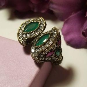 925S VTG Antique Emerald, Ruby, Topaz Wrap Ring